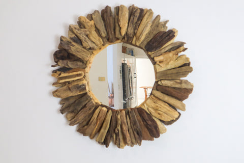 DRIFTWOOD MIRROR COASTAL STYLE- NATURAL OR WHITEWASHED