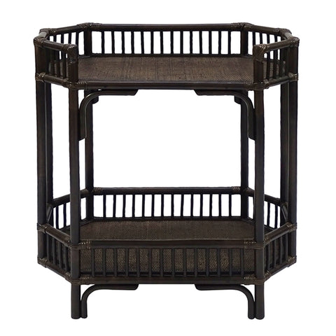 BAMBOO & RATTAN BAR CADDY - TOBACCO BROWN OR WHITE