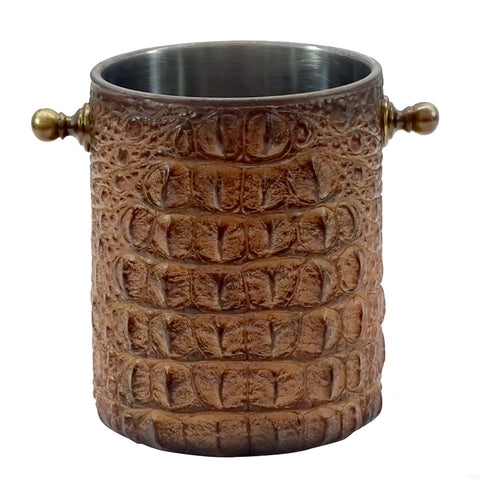 What a beautiful way to keep your wine cool.  This wine cooler is rustic yet elegant.  It is excellent quality and has a look alike aligator skin covering.