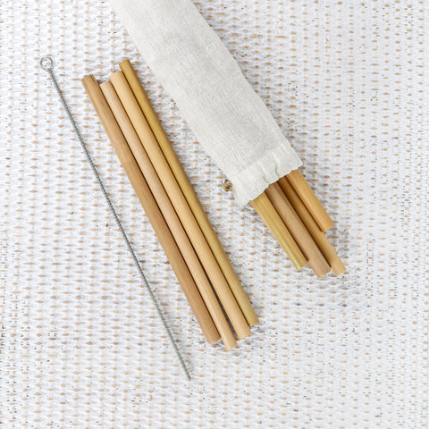 BAMBOO DRINKING STRAW SETS- SET OF 10 STRAWS WITH A CLEANER