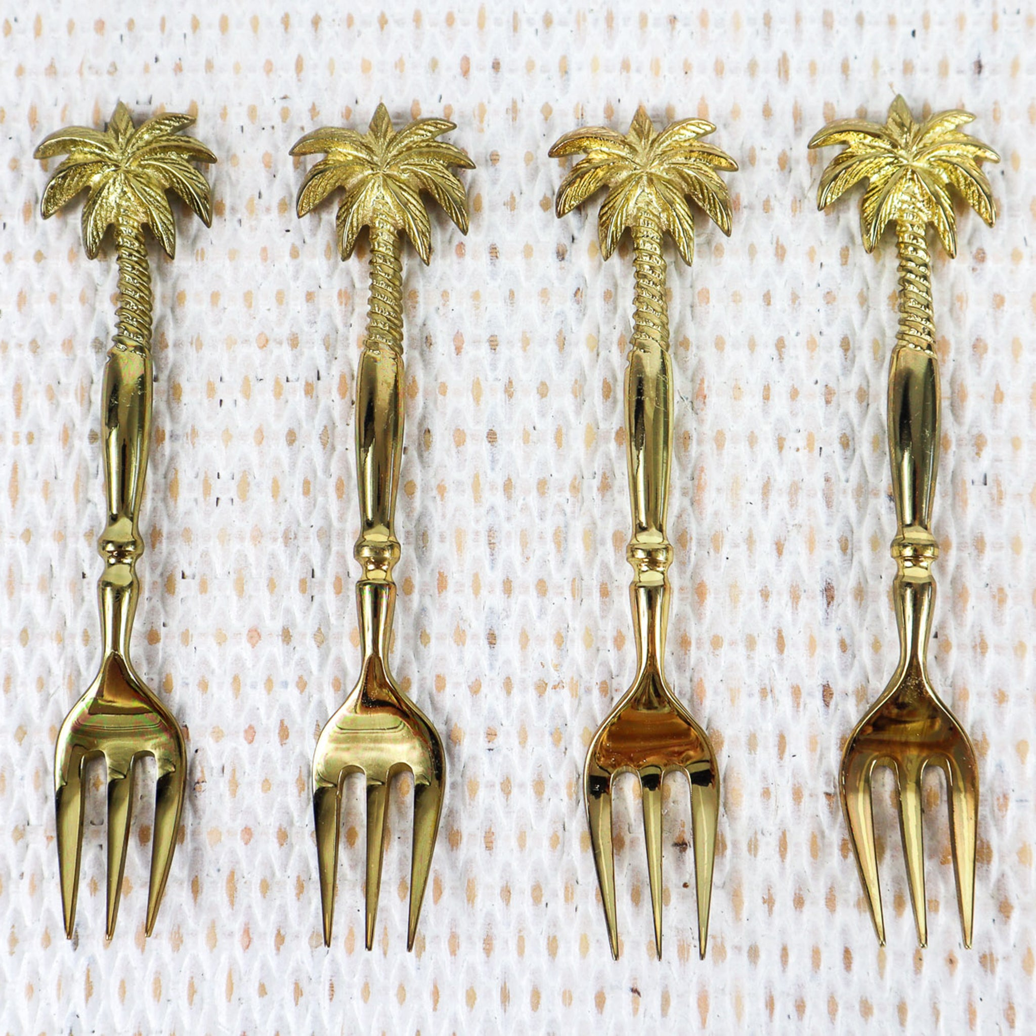 BRASS CAKE/DESERT FORKS - PINEAPPLE AND PALM TREE STYLE