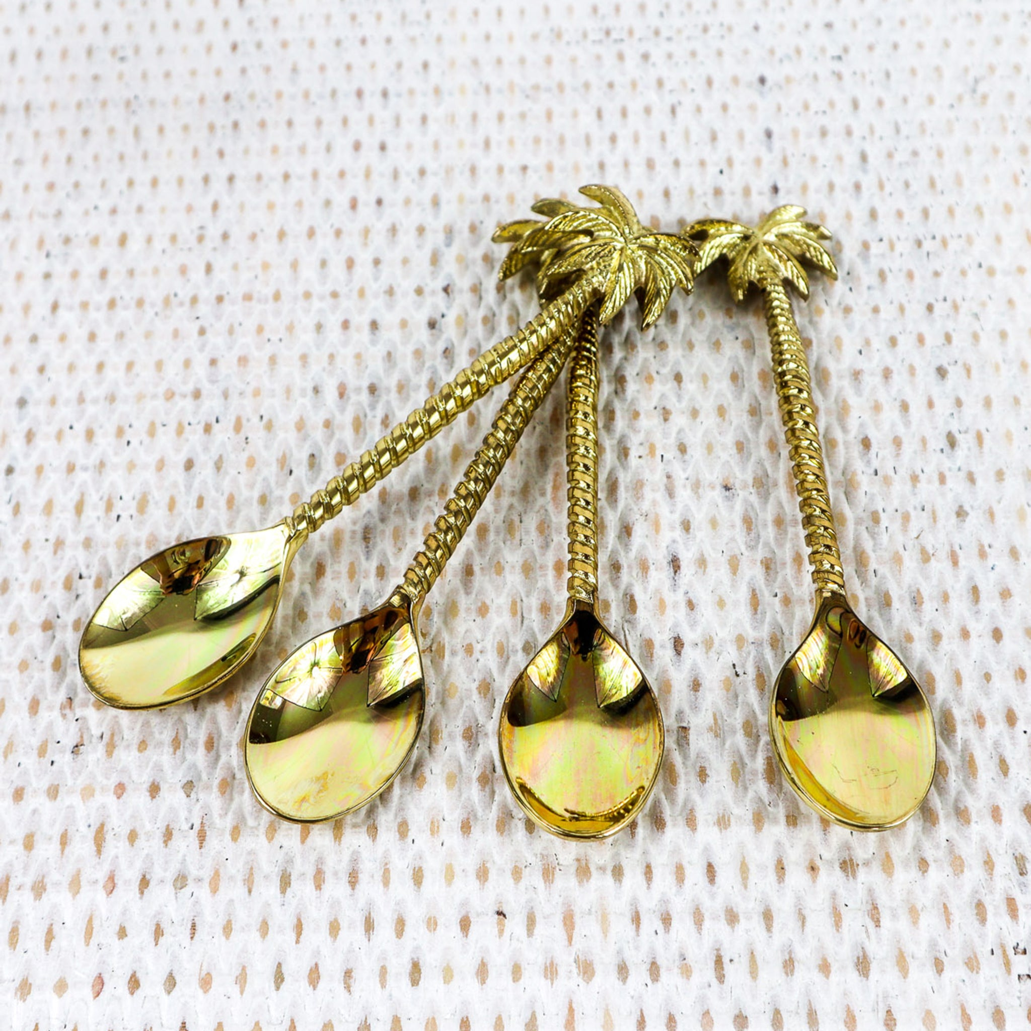 BRASS OR SILVER TEASPOONS - PALM TREE & PINEAPPLE