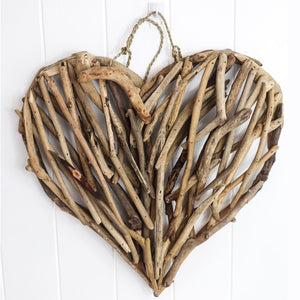 These handmade driftwood works of art are in a heart shape and send out loving vibes to any room that they feature.  Made with love and sending love and good fortune to all that enjoy her.  Available in natural driftwood or whitewashed driftwoodl