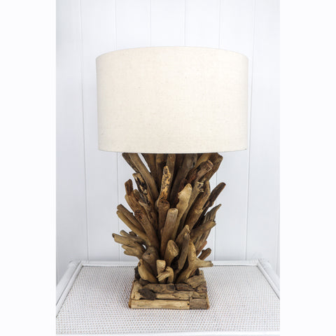 DRIFTWOOD COASTAL TABLE LAMP WITH LINEN SHADE NATURAL OR WHITEWASHED