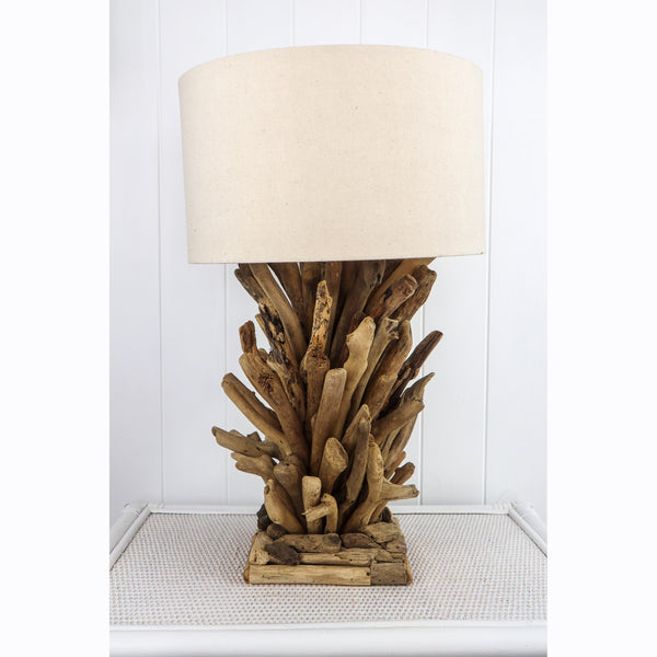 "What amazing works of art these hand made driftwood lamps are.  They scream ""Coastal"" - ""Beach House"" - ""Tropical"".  Each lamp is a hand made original so no two are exactly the same with each lamp having its own personality.  We have coupled the lamp with a stylish natural colour linnen shade and we had the shade made in accordance to the on trend shape.  Last time I imported these lamps they sold very quickly and had Professional"