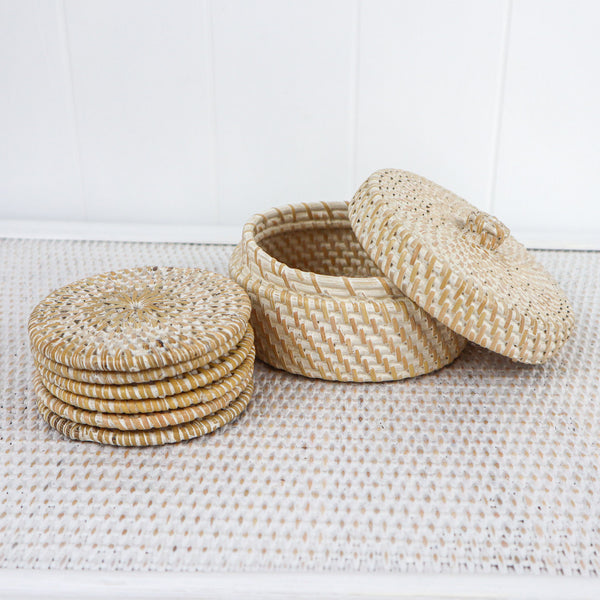 I added these beautiful white washed rattan boxed coasters to the collection because I was sick of seeing, dirty stained coasters, untidily all over the coffee table and on the floor.   I discovered these beautiful ones that can be put neatly back in the hand made rattan box when not needed..  It's neat, tidy, practical and beautiful and also makes a great gift.