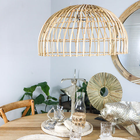 RATTAN HANGING LIGHT SHADE - NATURAL