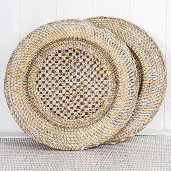 These gorgeous whitewashed rattan charges will make your dinner table look stunning.  This little addition will make you the envy of your guests.  If you team these up with our brass napkin holders your dinner party will go from great to the ultimate success.