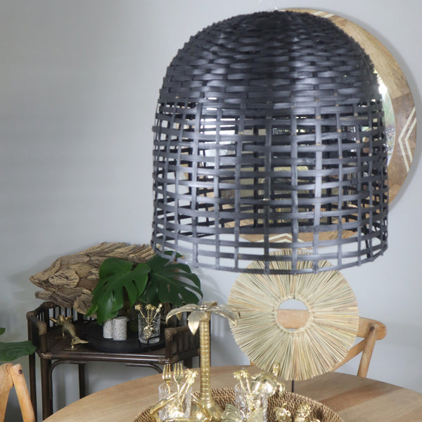 RATTAN WOODEN HANGING LIGHT SHADE - BLACK OR WHITE