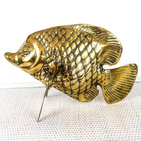 "This adorable sweet lips fish is a bit smaller than the large Groper.  He is still a stand alone focal piece though.  He screams ""Tropical"" and is also incredibly cute.  I have these in silver and brass.  Both are stunnilng."