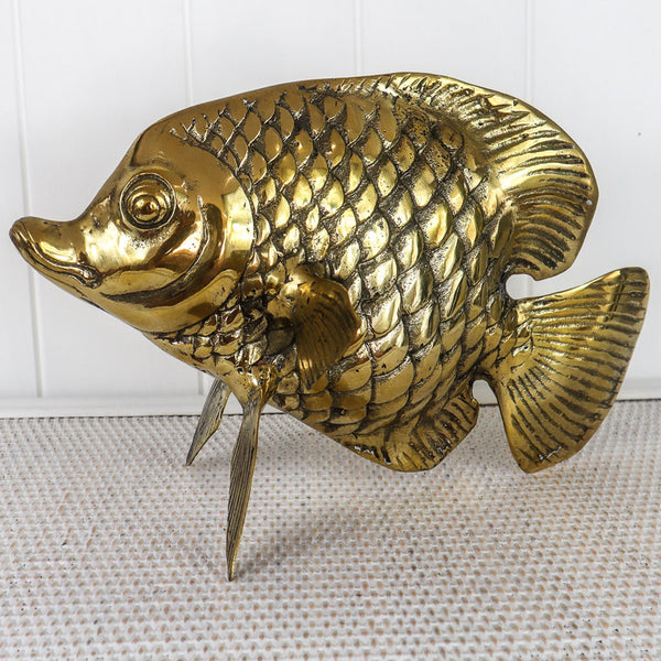 TROPICAL VIBES  BRASS SWEET LIPS FISH - TABLE ART IN BRONZE OR SILVER