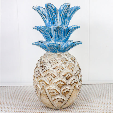 "Nothing says ""tropical"" like a wooden hand carved pineapple.  Its pretty, its perfect, its happy, its coastal vibes."