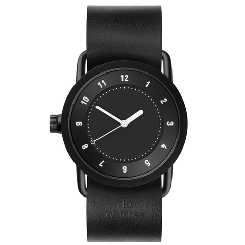 TID Watch 36mm No.1 Black w/ Black Leather Wristband