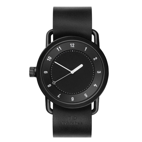 TID Watches TID Watch 40mm No.1 Black w/ Black Leather Wristband