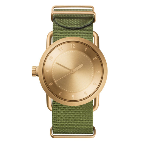 TID Watches TID Watch 36mm No.1 Gold w/ Green Nylon Wristband