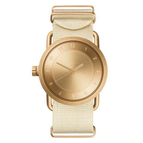 TID Watches TID Watch 36mm No.1 Gold w/ Off-White Nylon Wristband