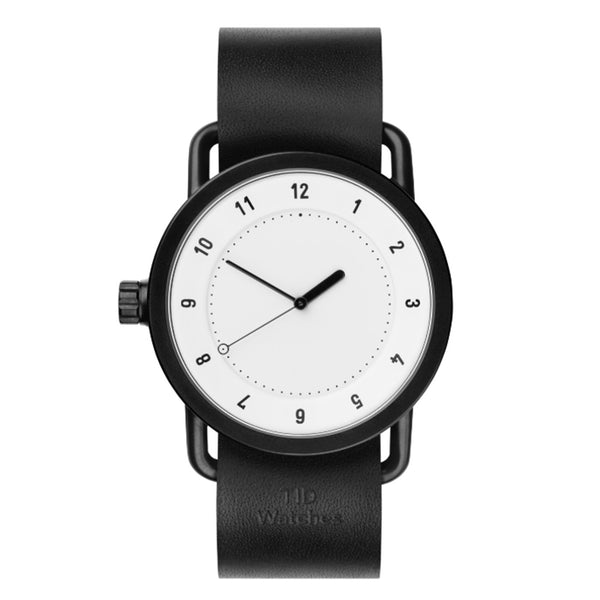 TID Watch 40mm No.1 White w/ Black Leather Wristband