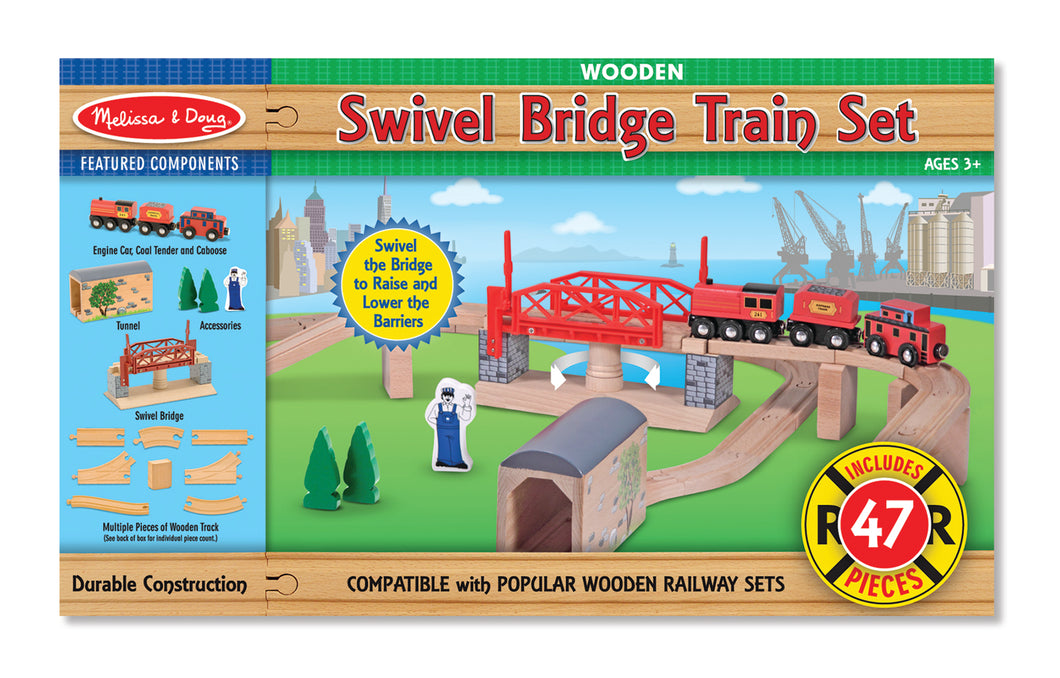 Wooden Swivel Bridge Train Set