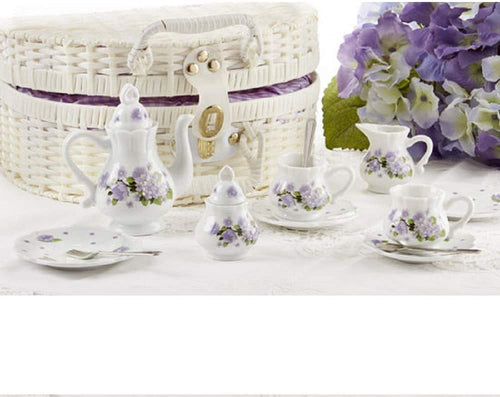 Delton Porcelain Tea Set in Basket, Purple Glory
