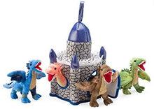 "Load image into Gallery viewer, Plush Dragon Play Set, 4 Dragons + Castle, Castle: 12""H x 8"" sq. Dragons: 6""H"