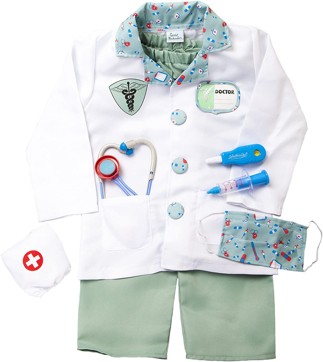 Great Pretenders Green Doctor with Accessories in Garment Bag, Size 5-6 Dress-Up Play