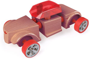 "Automoblox Collectible Wood Toy Cars and Trucks—Mini HR5 Scorch and SC1 Chaos 2-Pack (Compatible with other Mini and Micro Series Vehicles), Red/Purple, 4.5"" x 1.75"""