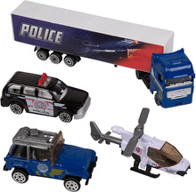 Load image into Gallery viewer, Work Force Kid's Police Department Backpack Play Set - Includes Die Cast Vehicles and Accessories