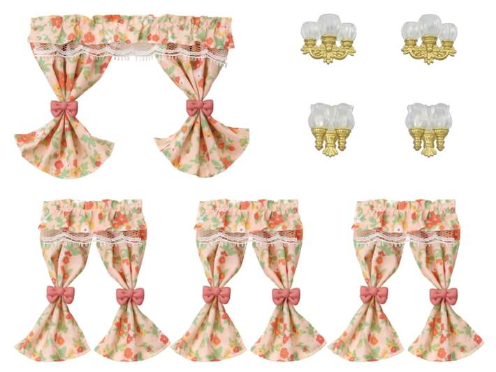 Wall Lamps & Curtains Set