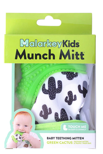 Malarkey Kids Munch Mitt Teething Mitten - The ORIGINAL Mom-Invented Silicone Teether Mitten with Travel Bag – Ideal Teething Toys for Baby Shower Gift
