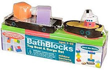 Load image into Gallery viewer, BathBlocks Just Think Toys Bath time Construction Building Toy - Tug Boat & Barge by Just Think Toys