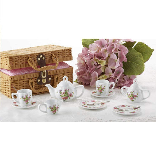 Delton Porcelain Tea Set in Basket, Multi Daisy