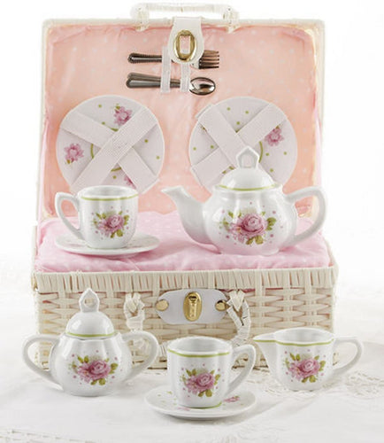 Delton Porcelain Tea Set in Basket, Pink Rose
