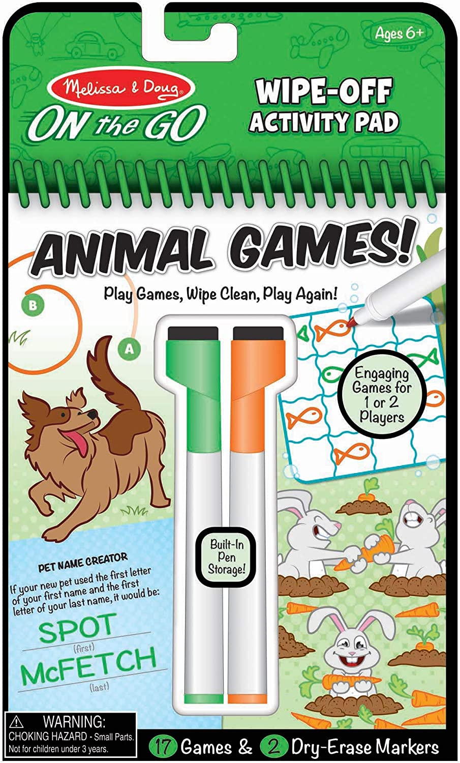 Melissa & Doug On The Go Animal Games Wipe-Off Activity Pad Reusable Travel