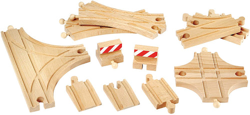 BRIO World Advanced Expansion Pack | 11 Piece Set of Wooden Train Tracks for Kids Ages 3 and Up