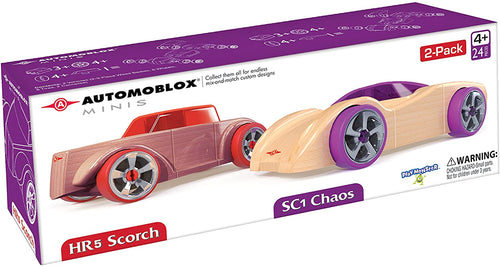 Automoblox Collectible Wood Toy Cars and Trucks—Mini HR5 Scorch and SC1 Chaos 2-Pack (Compatible with other Mini and Micro Series Vehicles), Red/Purple, 4.5