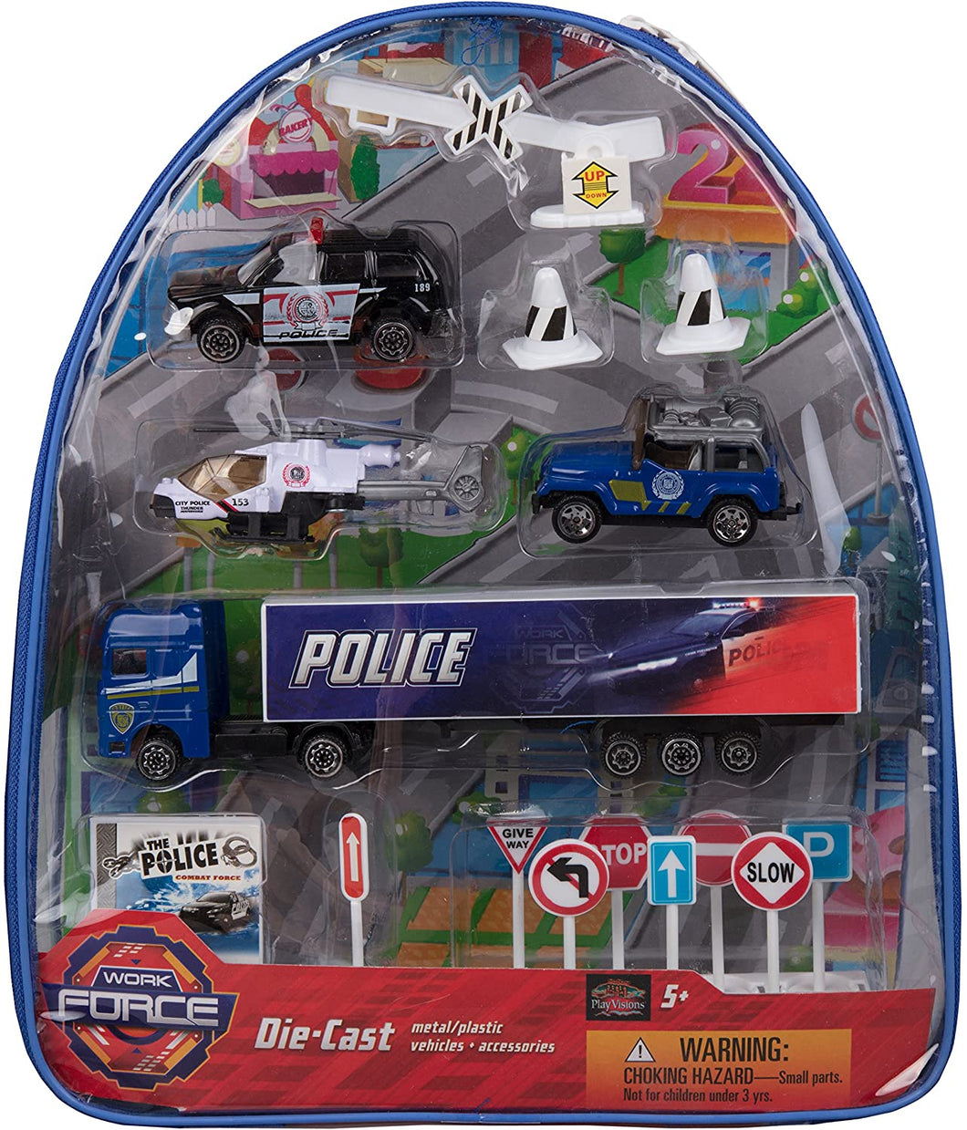 Work Force Kid's Police Department Backpack Play Set - Includes Die Cast Vehicles and Accessories