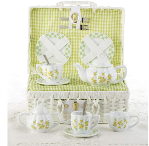 Delton Product Porcelain Tea Set in Basket Yellow Sue
