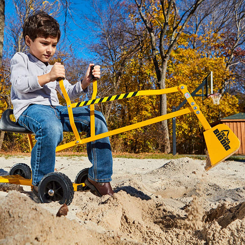 The Big Dig and Roll Ride-On Working Excavator with Wheels, Sandbox Excavator with 360° Rotation, Great for Sand, Dirt and Snow, Steel Outdoor Play Toy