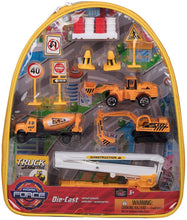 Load image into Gallery viewer, Work Force Kid's Construction Worker Backpack Play Set - Includes Die Cast Vehicles and Accessories
