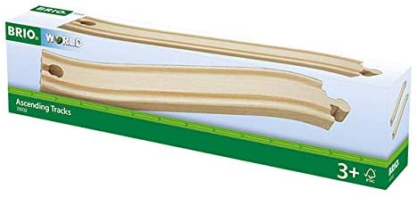 BRIO World - 33332 Ascending Tracks | 2 Piece Wooden Train Tracks for Kids Ages 3 and Up