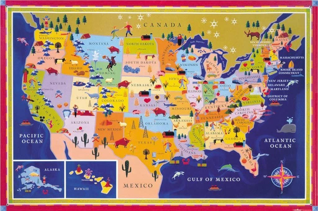 eeBoo Laminated United States USA Map Poster