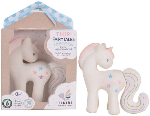 Tikiri Fairytales Cotton Candy Unicorn Natural Rubber Rattle with Crinkle Tail (White)