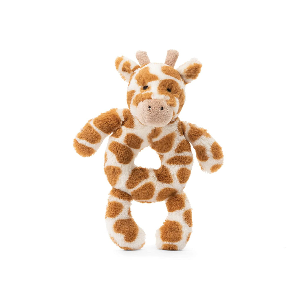 Jellycat Bashful Giraffe Soft Plush Baby Toy Ring Rattle, 6 inches