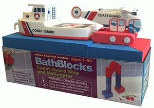 BathBlocks Bathtime Consruction Building Toy - Coast Guard Boat & Helicopter
