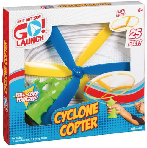 Cyclone Copter Flying Disc, Zip and Launch Toy, Disc Launcher
