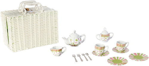 Delton Products Sprinkles Dollies Tea Set in Basket, Large