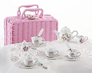 Delton Products Flower Design Porcelain Tea Set and Basket (17 Piece)