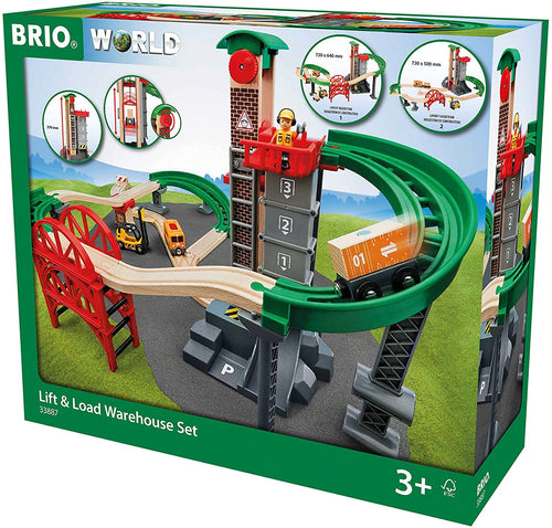 Brio World Lift & Load Warehouse Set | 32 Piece Train Toy with Accessories and Wooden Tracks for Kids Ages 3 and Up