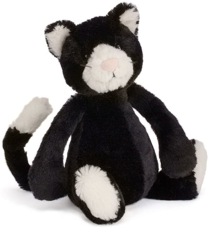 Jellycat Bashful Black and White Kitten Stuffed Animal, Small, 7 inches