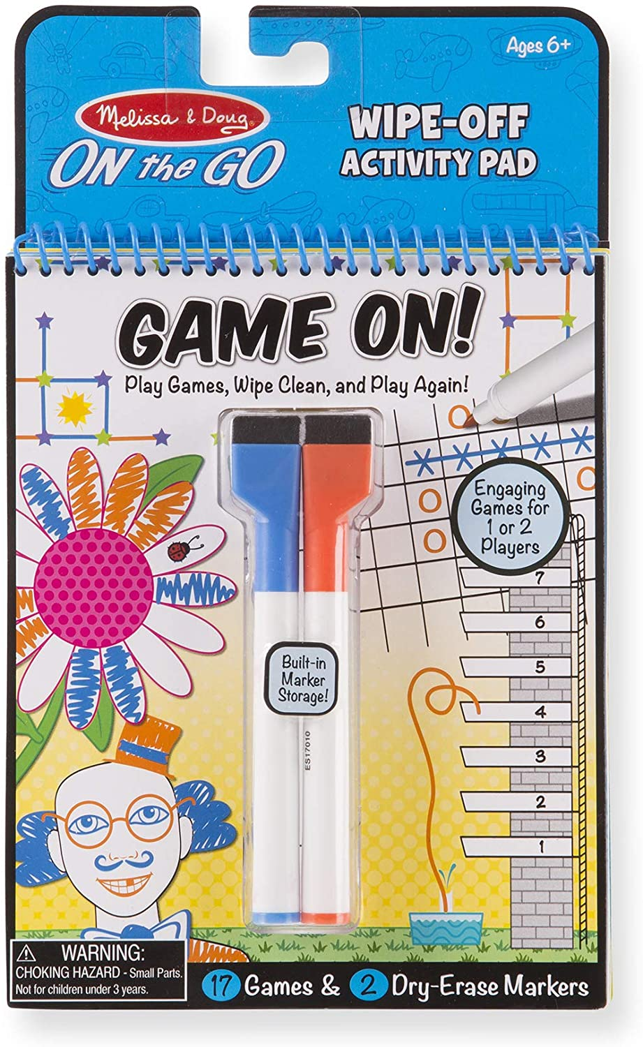 Melissa & Doug Game On! Reusable Games Wipe-Off Dry-Erase Travel Activity Pad Game